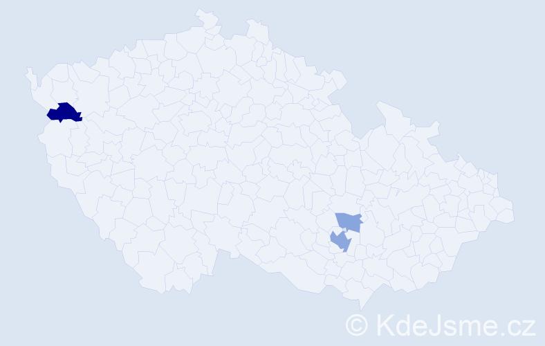 Příjmení: 'Kipila', počet výskytů 7 v celé ČR