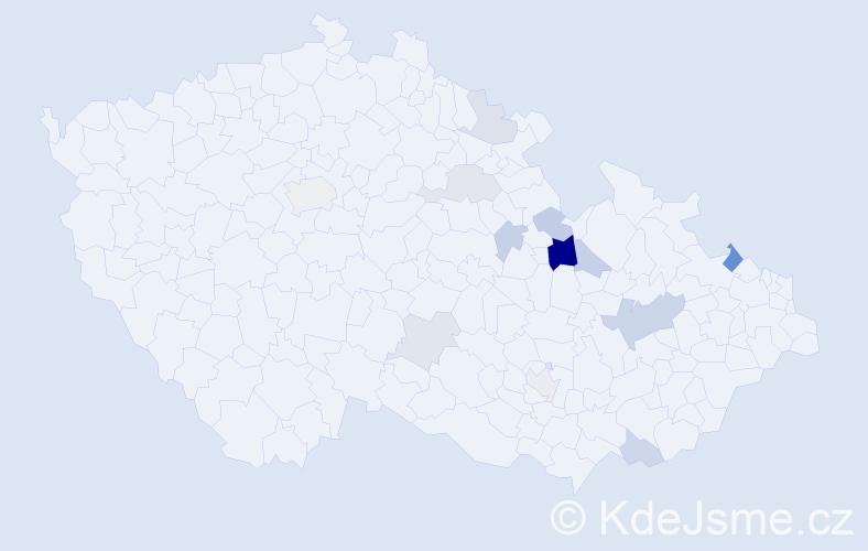 Příjmení: 'Ficnerová', počet výskytů 24 v celé ČR