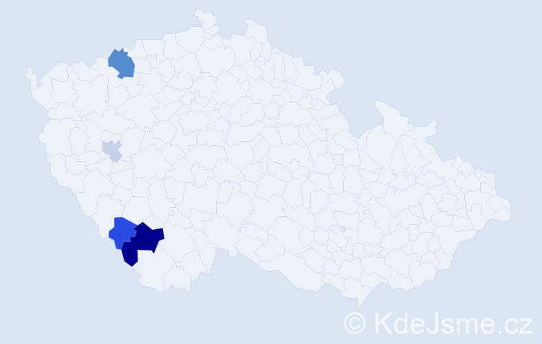 Příjmení: 'Igler', počet výskytů 8 v celé ČR