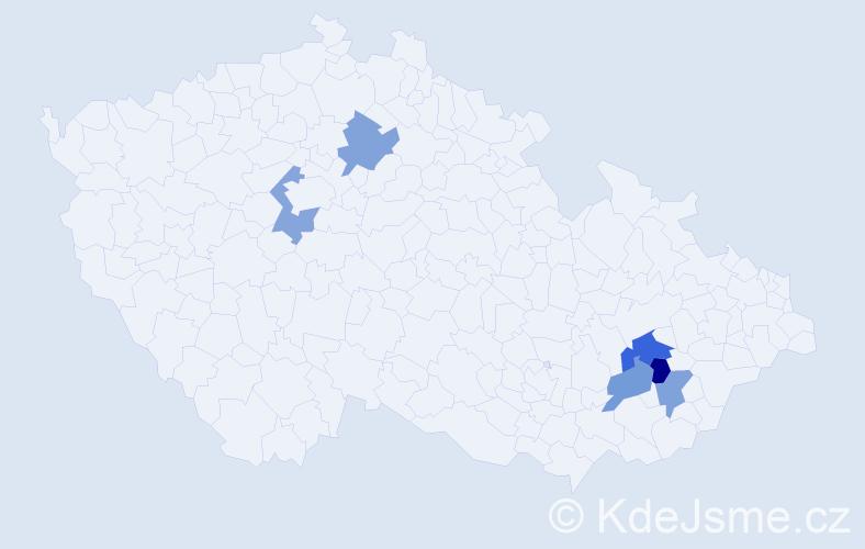 Příjmení: 'Konečníková', počet výskytů 7 v celé ČR