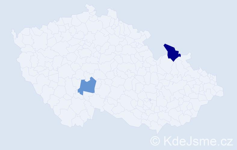 Příjmení: 'Christmannová', počet výskytů 5 v celé ČR