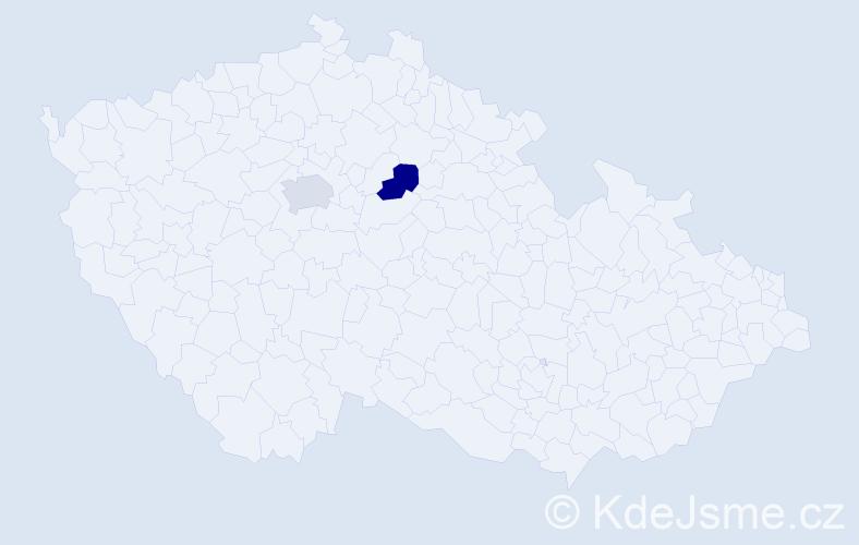 Příjmení: 'Kostinek', počet výskytů 4 v celé ČR
