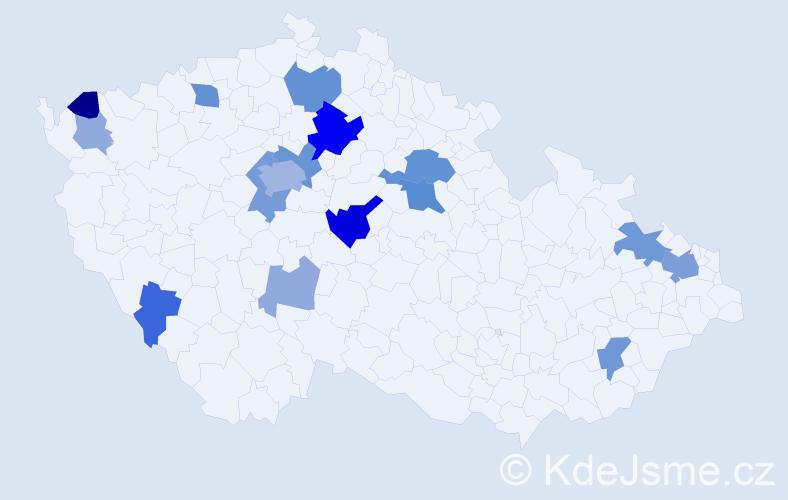 Příjmení: 'Ďurech', počet výskytů 43 v celé ČR