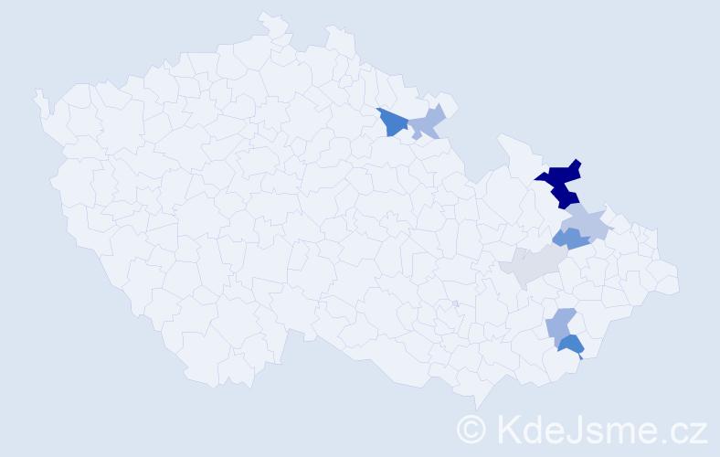 Příjmení: 'Grček', počet výskytů 23 v celé ČR