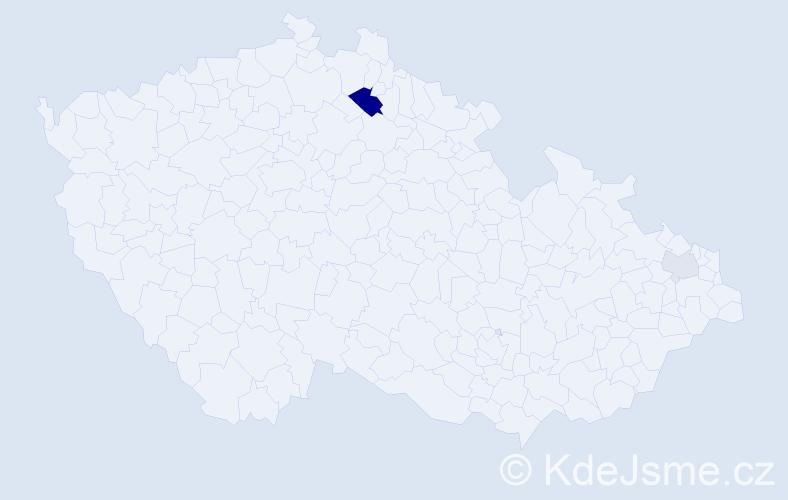 Příjmení: 'Čičkán', počet výskytů 6 v celé ČR