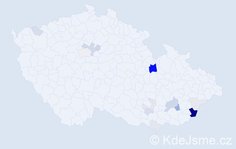 Příjmení: 'Hrubčíková', počet výskytů 45 v celé ČR