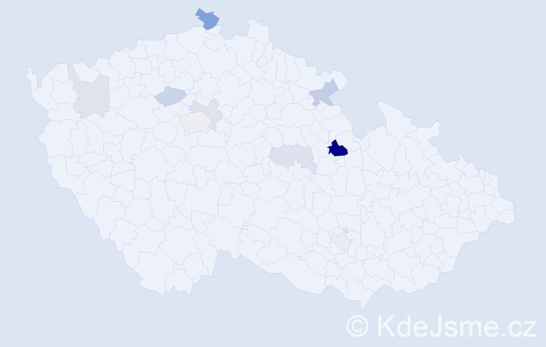Příjmení: 'Nesejt', počet výskytů 21 v celé ČR