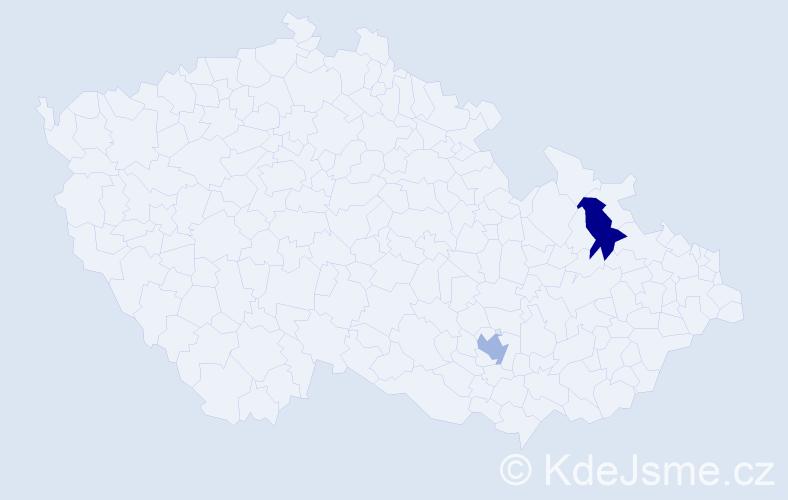 Příjmení: 'Achilesová', počet výskytů 2 v celé ČR