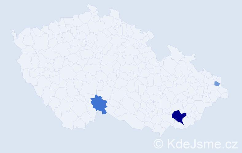 Příjmení: 'Korábiková', počet výskytů 5 v celé ČR
