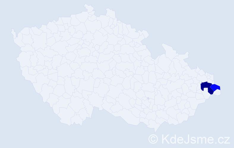 Příjmení: 'Dovičičová', počet výskytů 6 v celé ČR