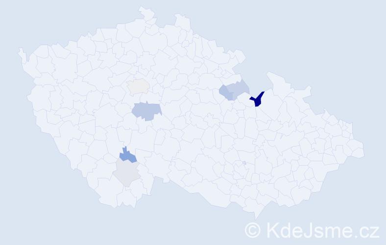 Příjmení: 'Kakaščíková', počet výskytů 11 v celé ČR