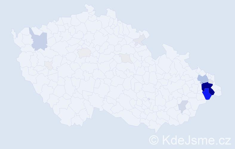 Příjmení: 'Lepíková', počet výskytů 93 v celé ČR