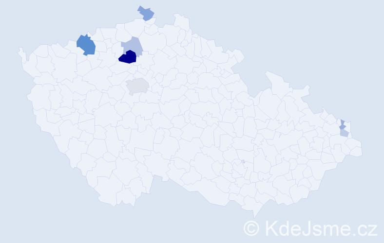 Příjmení: 'Hořenín', počet výskytů 15 v celé ČR