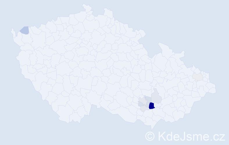 Příjmení: 'Kalouda', počet výskytů 46 v celé ČR