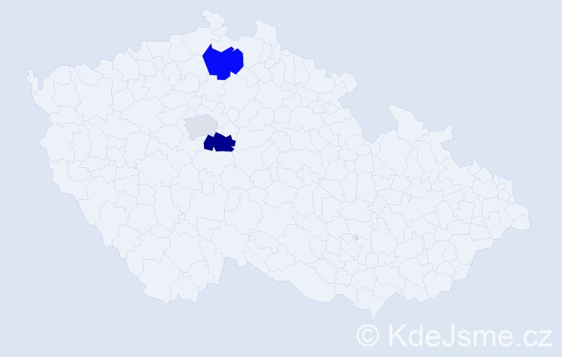Příjmení: 'Kavrzová', počet výskytů 5 v celé ČR