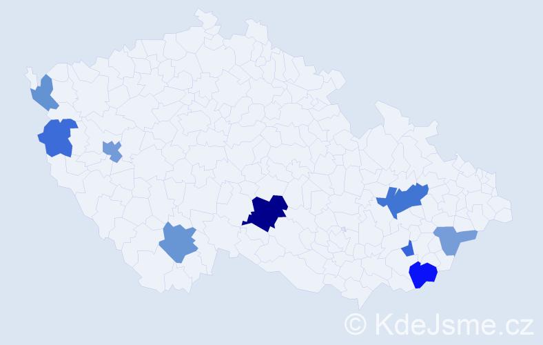 Příjmení: 'Hubocký', počet výskytů 17 v celé ČR