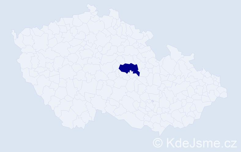 """Příjmení: '""""Casparis Procházková""""', počet výskytů 1 v celé ČR"""