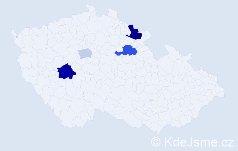 Příjmení: 'Čubírka', počet výskytů 4 v celé ČR