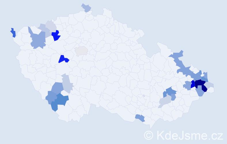Příjmení: 'Kubačková', počet výskytů 92 v celé ČR