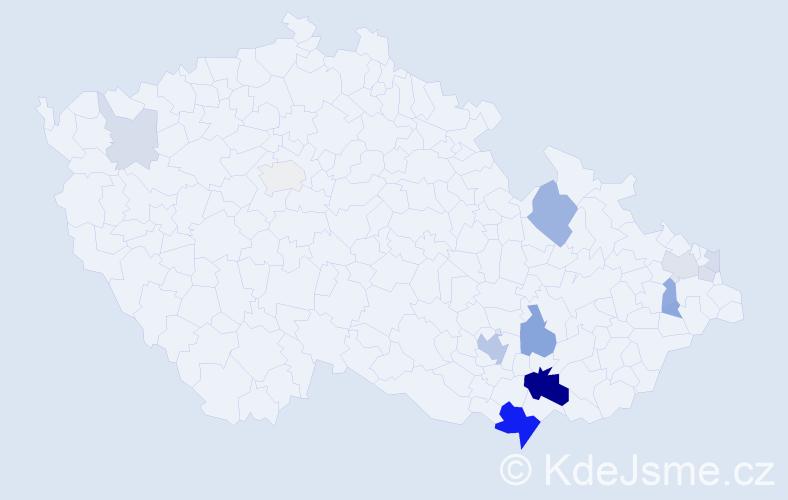 Příjmení: 'Gardáš', počet výskytů 47 v celé ČR
