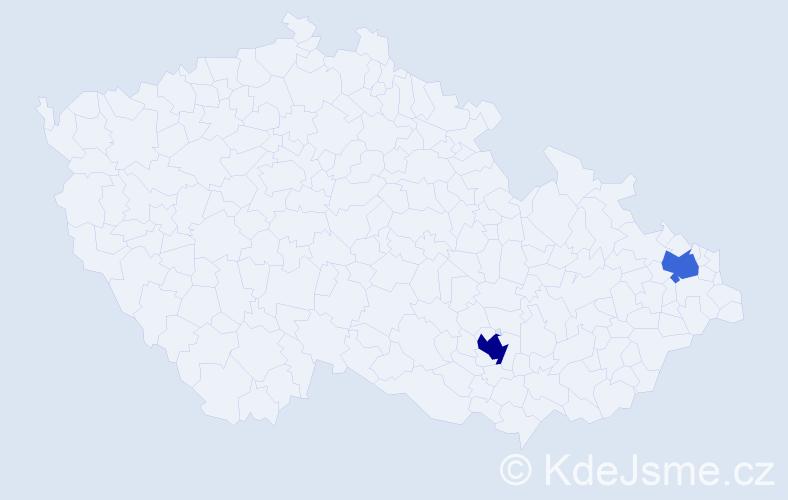 Příjmení: 'Císarík', počet výskytů 3 v celé ČR