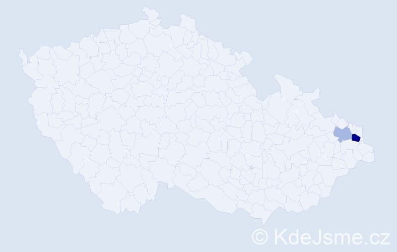 Příjmení: 'Kaszuba', počet výskytů 7 v celé ČR