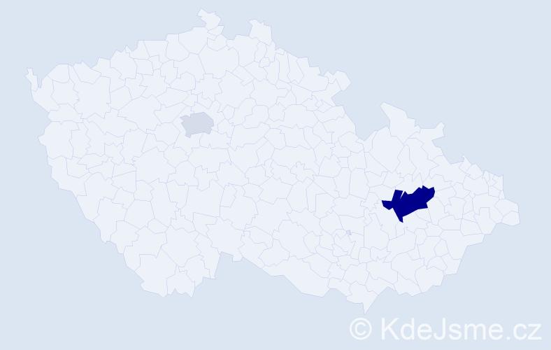 Příjmení: 'Hůvr', počet výskytů 4 v celé ČR
