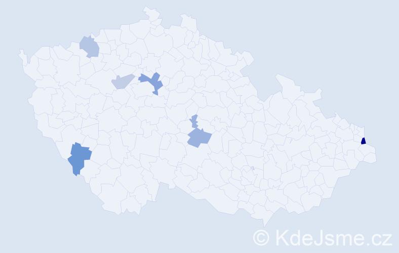 Příjmení: 'Izsáková', počet výskytů 9 v celé ČR