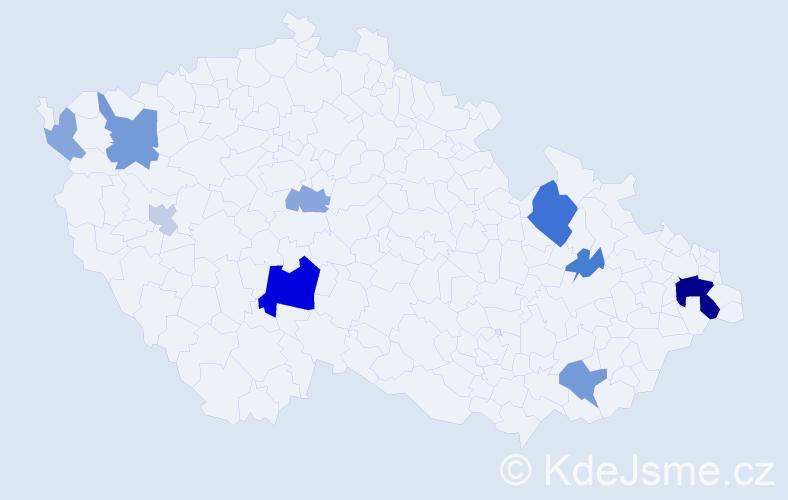 Příjmení: 'Ermanová', počet výskytů 23 v celé ČR