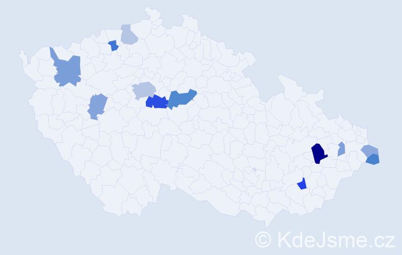 Příjmení: 'Čamborová', počet výskytů 26 v celé ČR