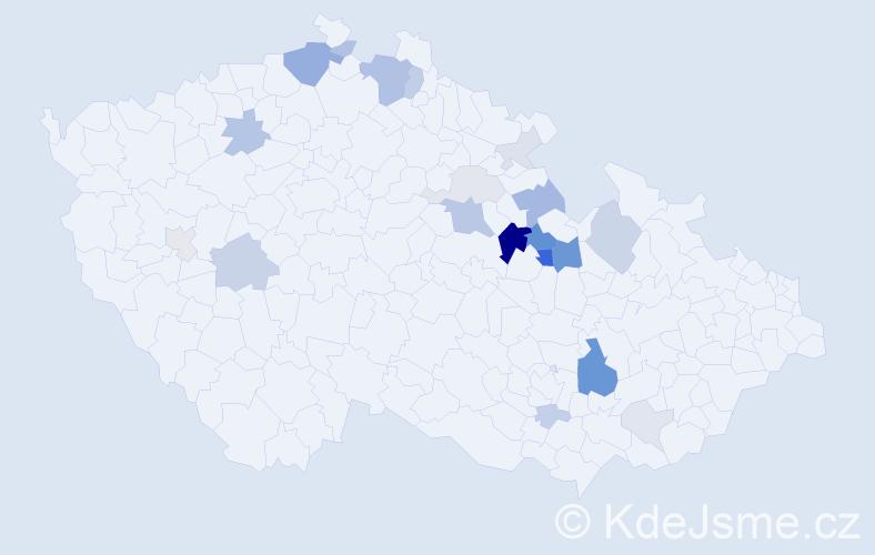 Příjmení: 'Hylák', počet výskytů 60 v celé ČR
