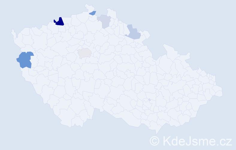 Příjmení: 'Johana', počet výskytů 13 v celé ČR