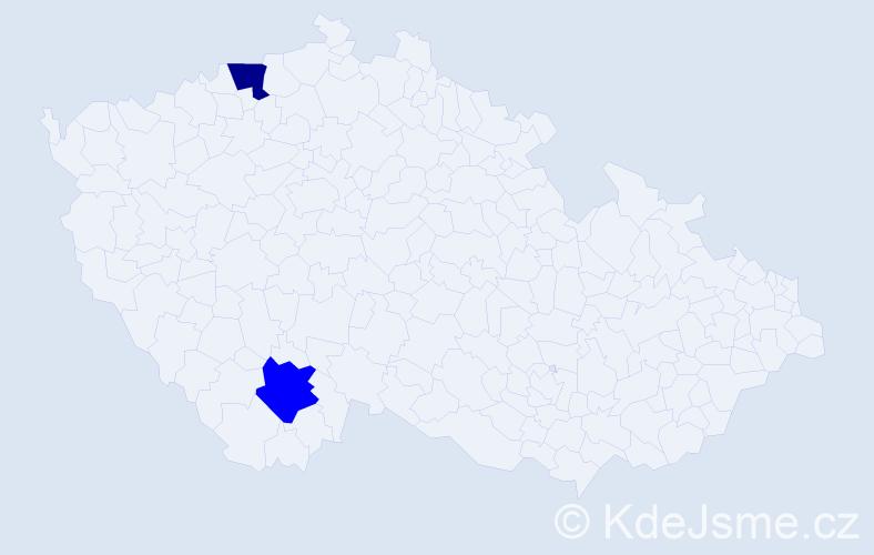 Příjmení: 'Jakimelová', počet výskytů 2 v celé ČR