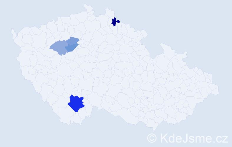 Příjmení: 'Částa', počet výskytů 14 v celé ČR
