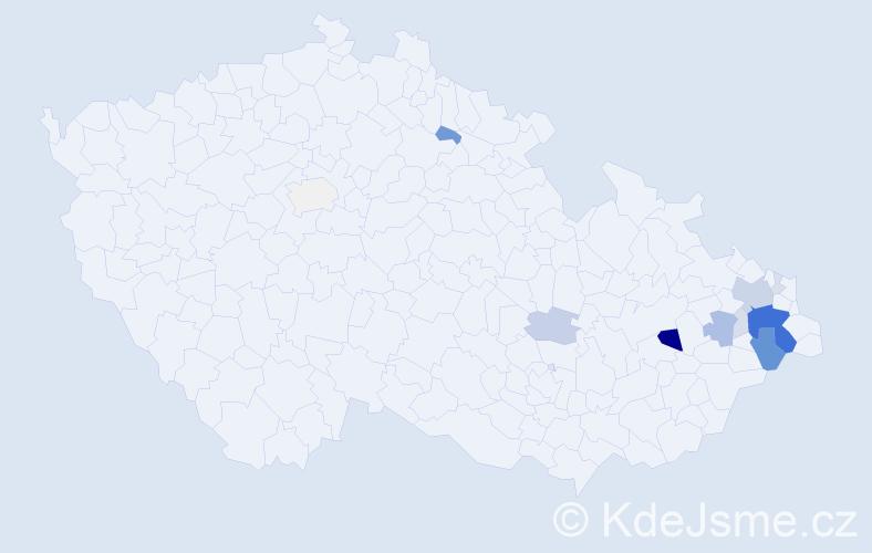 Příjmení: 'Hlosta', počet výskytů 50 v celé ČR