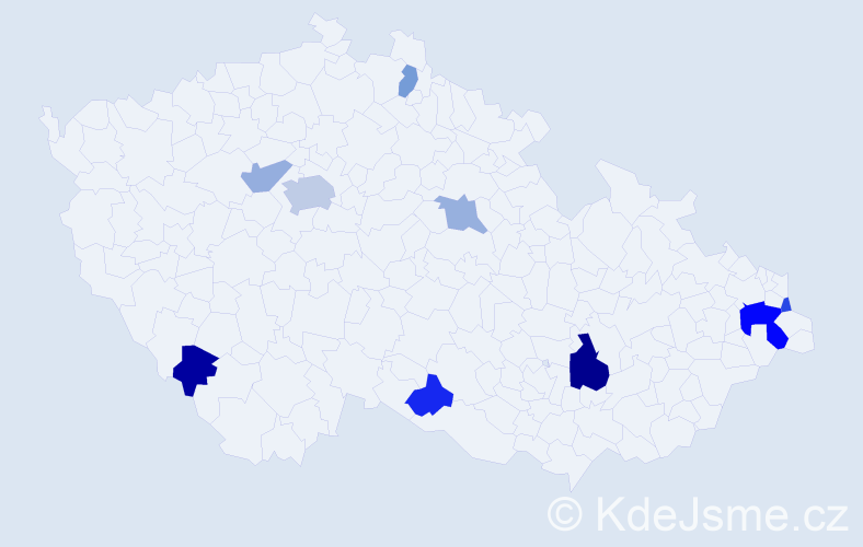 Příjmení: 'Jančušová', počet výskytů 17 v celé ČR