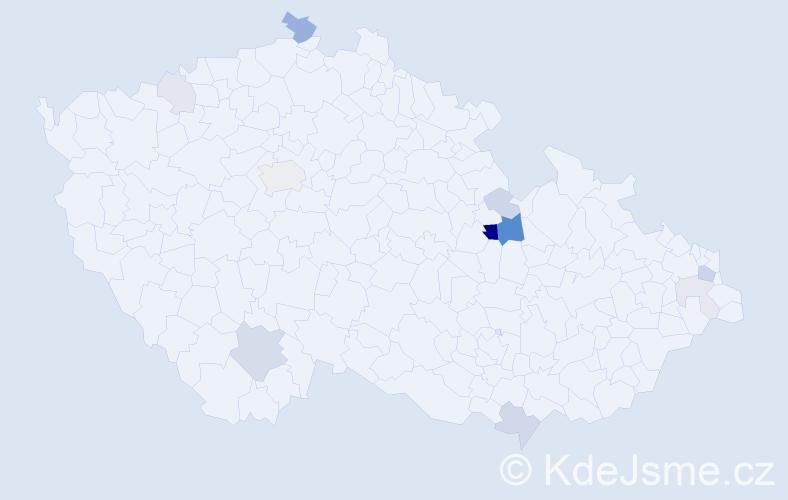 Příjmení: 'Hipský', počet výskytů 31 v celé ČR
