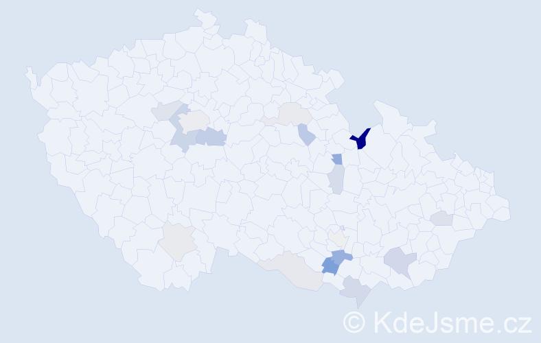 Příjmení: 'Hošpes', počet výskytů 38 v celé ČR