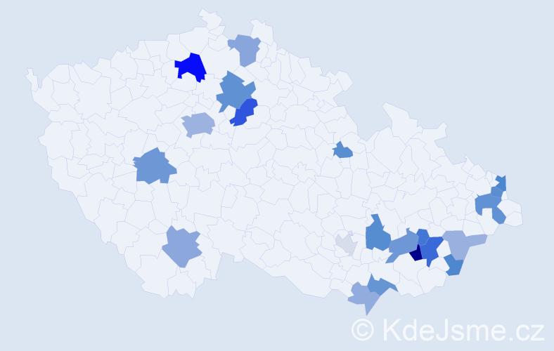 Příjmení: 'Lamošová', počet výskytů 53 v celé ČR