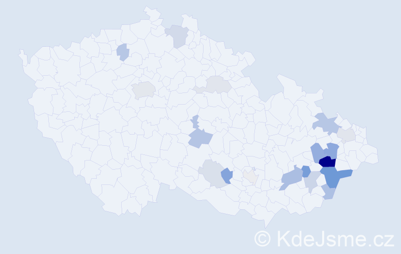 Příjmení: 'Bátrlová', počet výskytů 53 v celé ČR