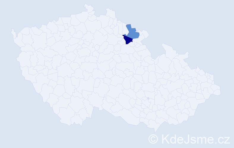 Příjmení: 'Ladigová', počet výskytů 4 v celé ČR