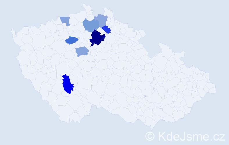 Příjmení: 'Casanova', počet výskytů 18 v celé ČR