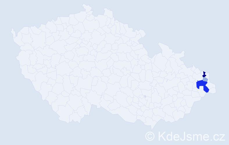Příjmení: 'Bělava', počet výskytů 8 v celé ČR