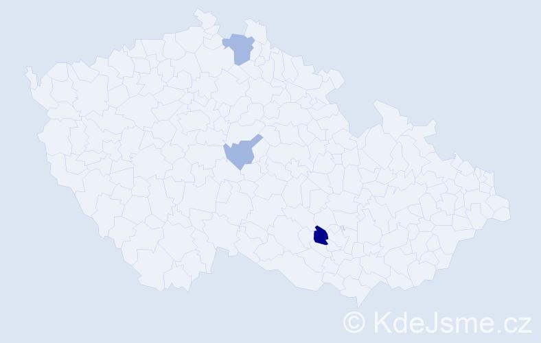 Příjmení: 'Hočková', počet výskytů 6 v celé ČR