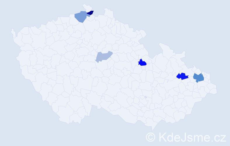 Příjmení: 'Babiáková', počet výskytů 17 v celé ČR