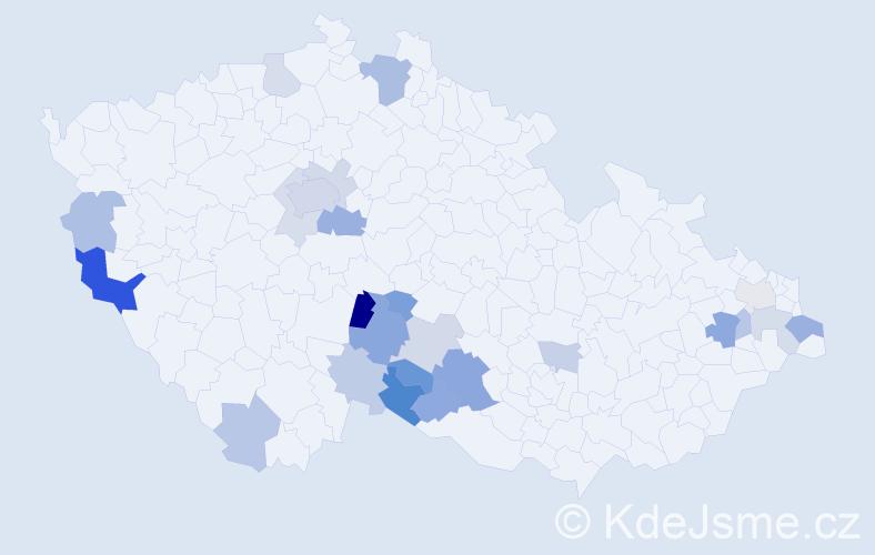 Příjmení: 'Čárová', počet výskytů 46 v celé ČR