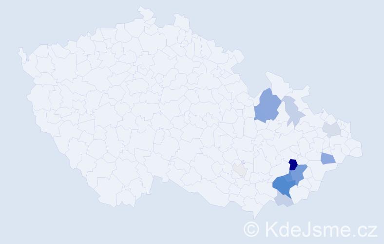 Příjmení: 'Laholová', počet výskytů 41 v celé ČR