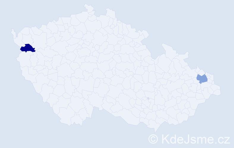 Příjmení: 'Csabalová', počet výskytů 3 v celé ČR