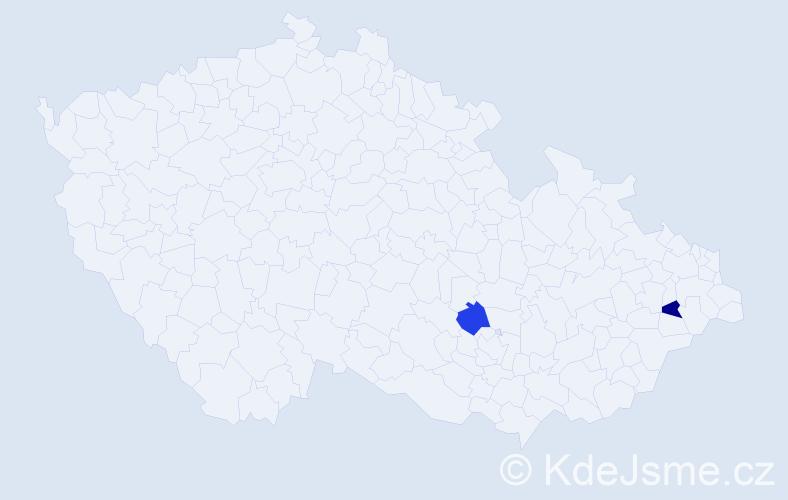 Příjmení: 'Gőrigová', počet výskytů 2 v celé ČR