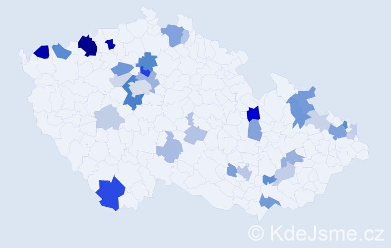 Příjmení: 'Jakab', počet výskytů 86 v celé ČR